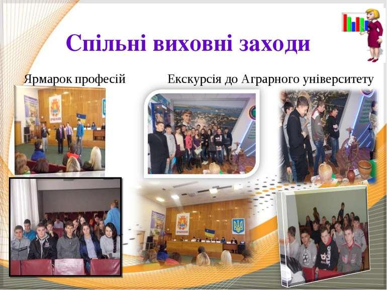 Спільні виховні заходи Ярмарок професій Екскурсія до Аграрного університету
