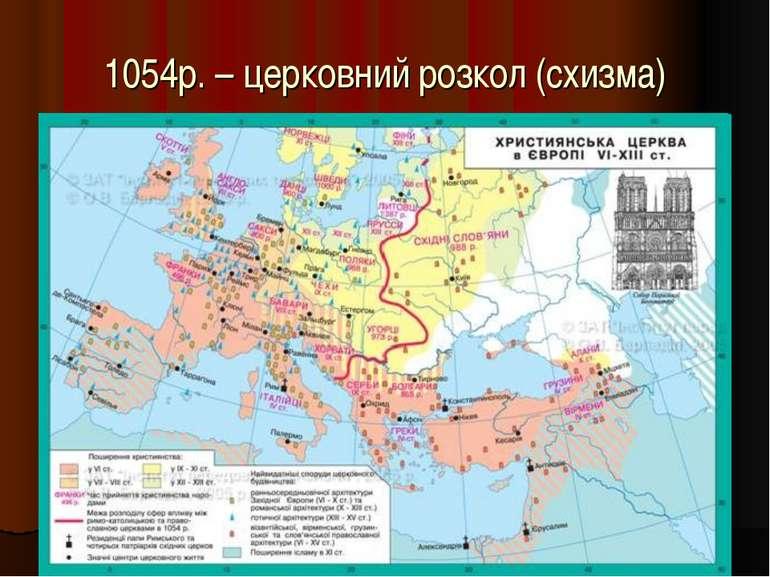 1054р. – церковний розкол (схизма)
