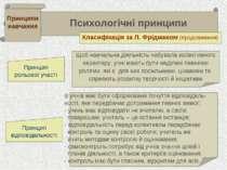 . . Психологічні принципи Принципи навчання Класифікація за Л. Фрідманом (про...