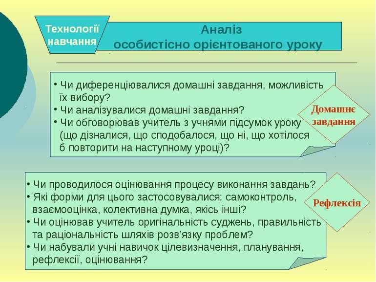 . . Аналіз особистісно орієнтованого уроку Технології навчання Чи диференціюв...
