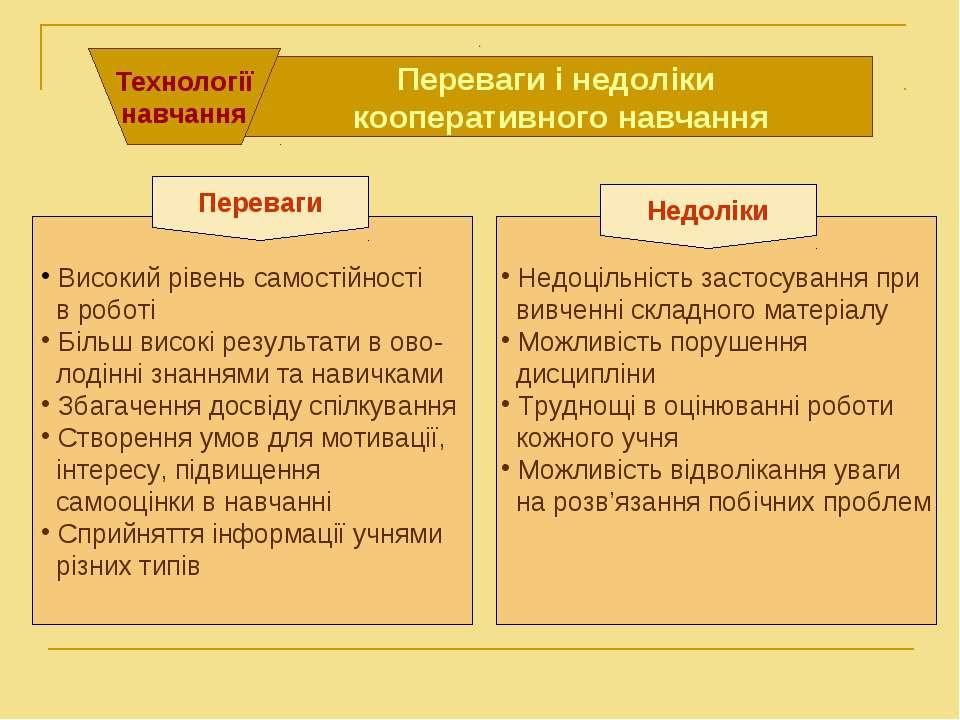 . . Переваги і недоліки кооперативного навчання Технології навчання Високий р...