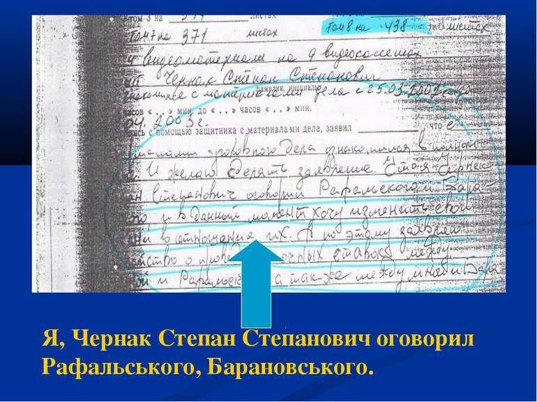 Я, Чернак Степан Степанович оговорил Рафальського, Барановського.