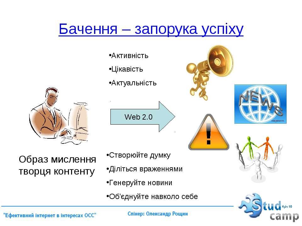 Бачення – запорука успіху Web 2.0 Образ мислення творця контенту Активність Ц...