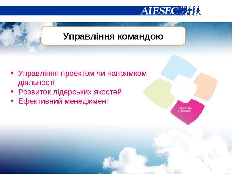 Управління командою Управління проектом чи напрямком діяльності Розвиток ліде...