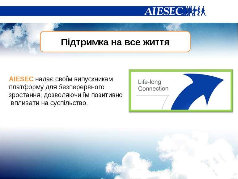 Підтримка на все життя AIESEC надає своїм випускникам платформу для безперерв...