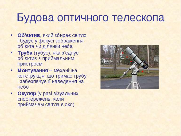 Будова оптичного телескопа Об'єктив, який збирає світло і будує у фокусі зобр...