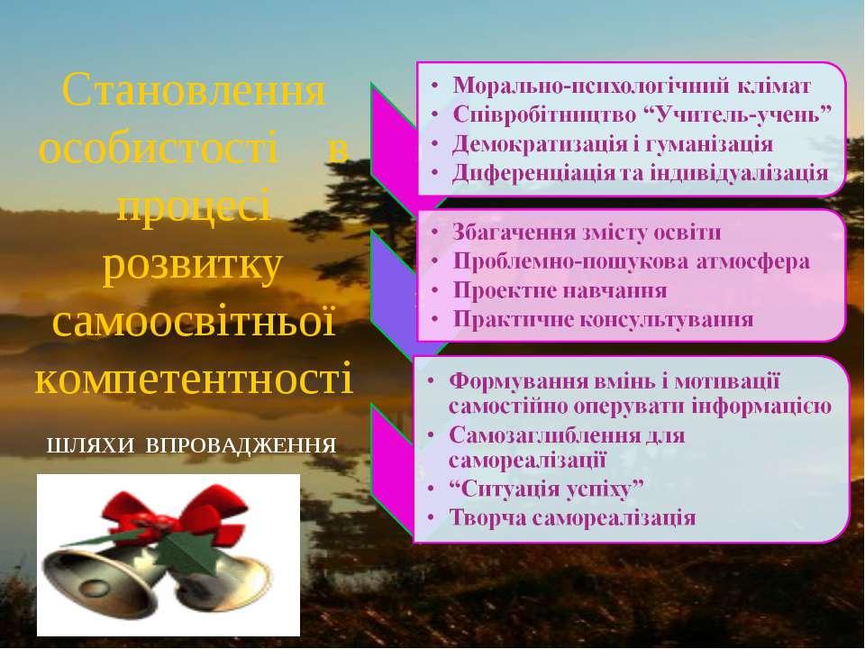 Становлення особистості в процесі розвитку самоосвітньої компетентності ШЛЯХИ...