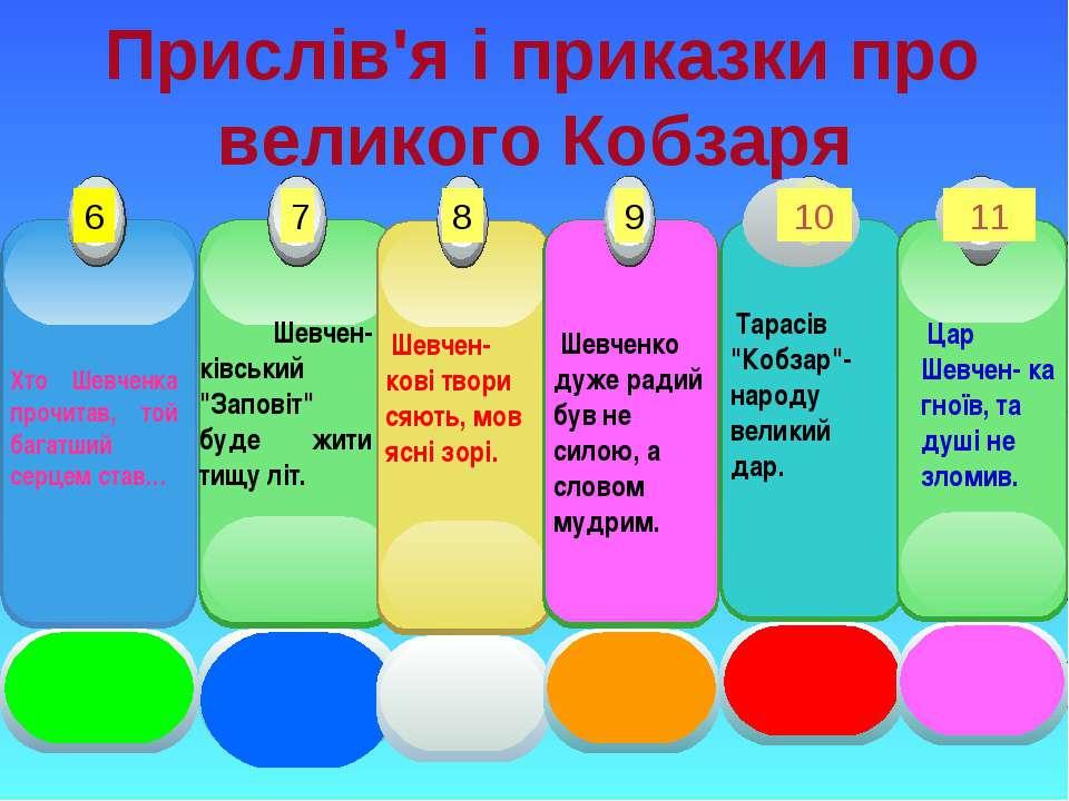 Прислів'я і приказки про великого Кобзаря Хто Шевченка прочитав, той багатший...