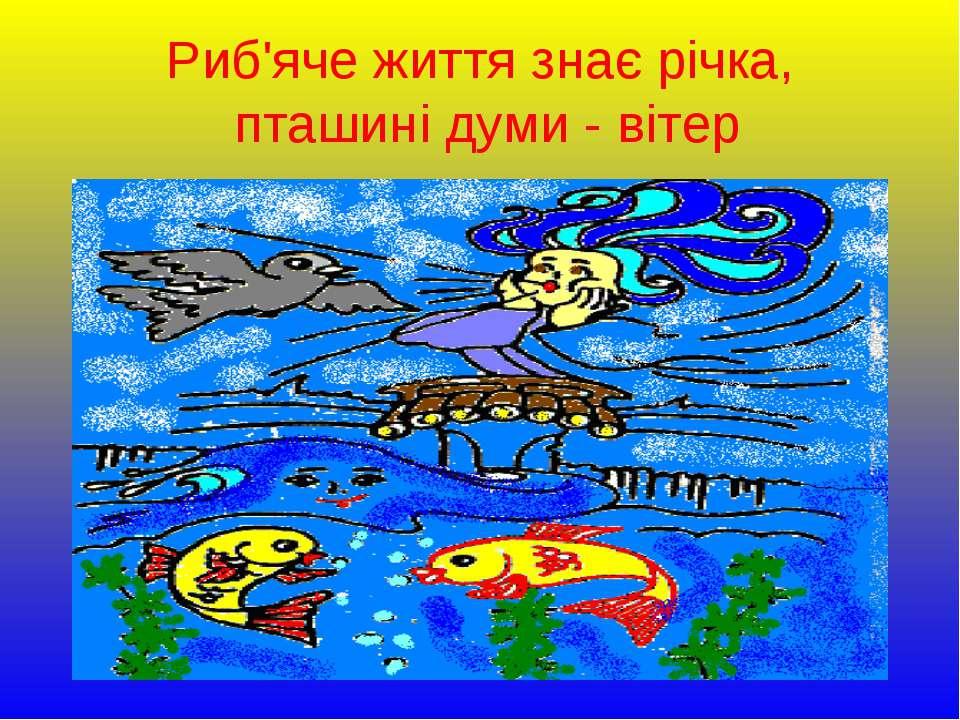 Риб'яче життя знає річка, пташині думи - вітер