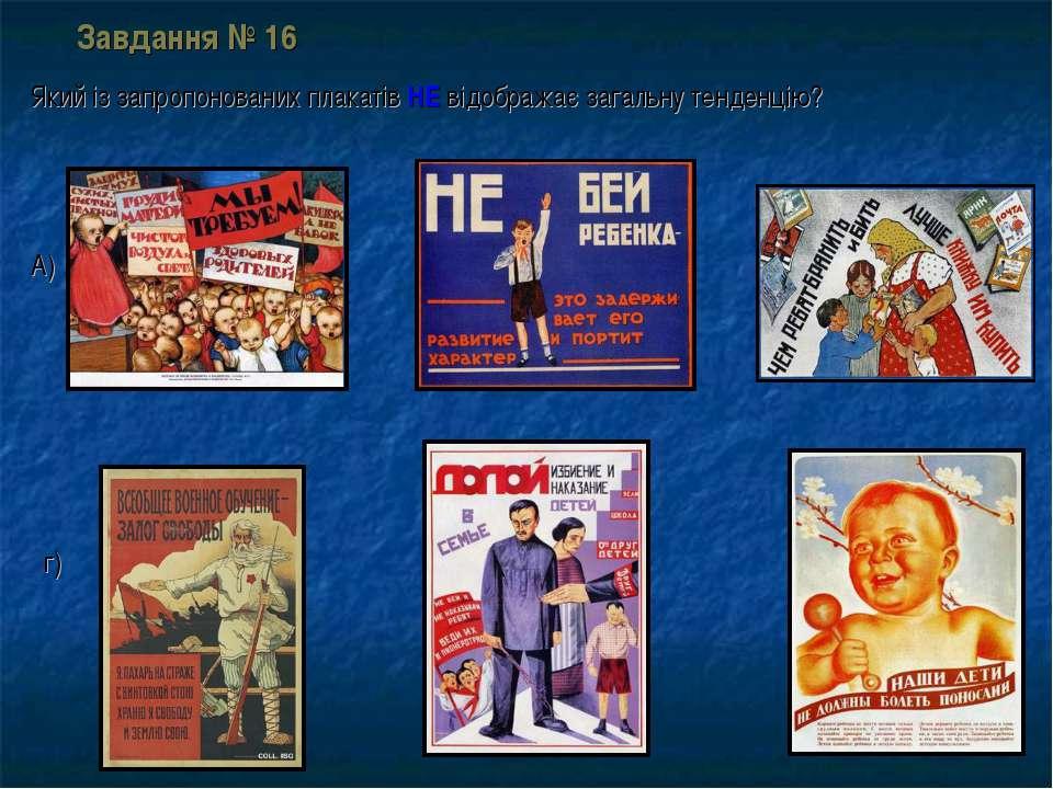 Завдання № 16 Який із запропонованих плакатів НЕ відображає загальну тенденці...