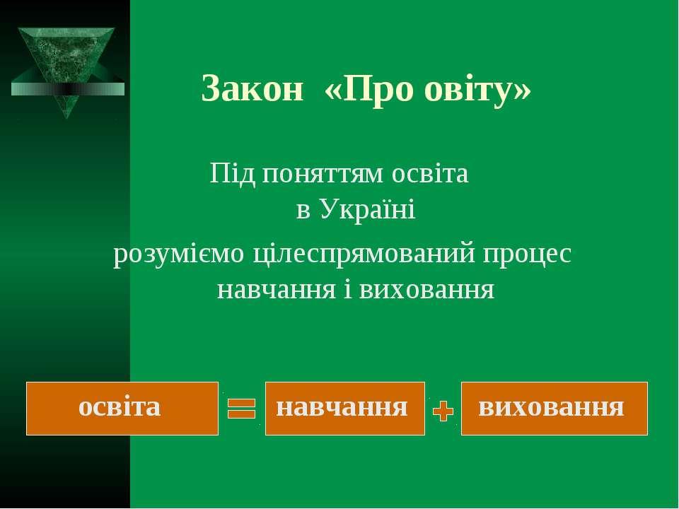 Закон «Про овіту» Під поняттям освіта в Україні розуміємо цілеспрямований про...