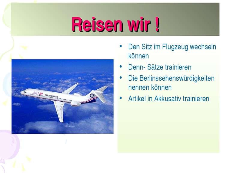 Reisen wir ! Den Sitz im Flugzeug wechseln können Denn- Sätze trainieren Die ...
