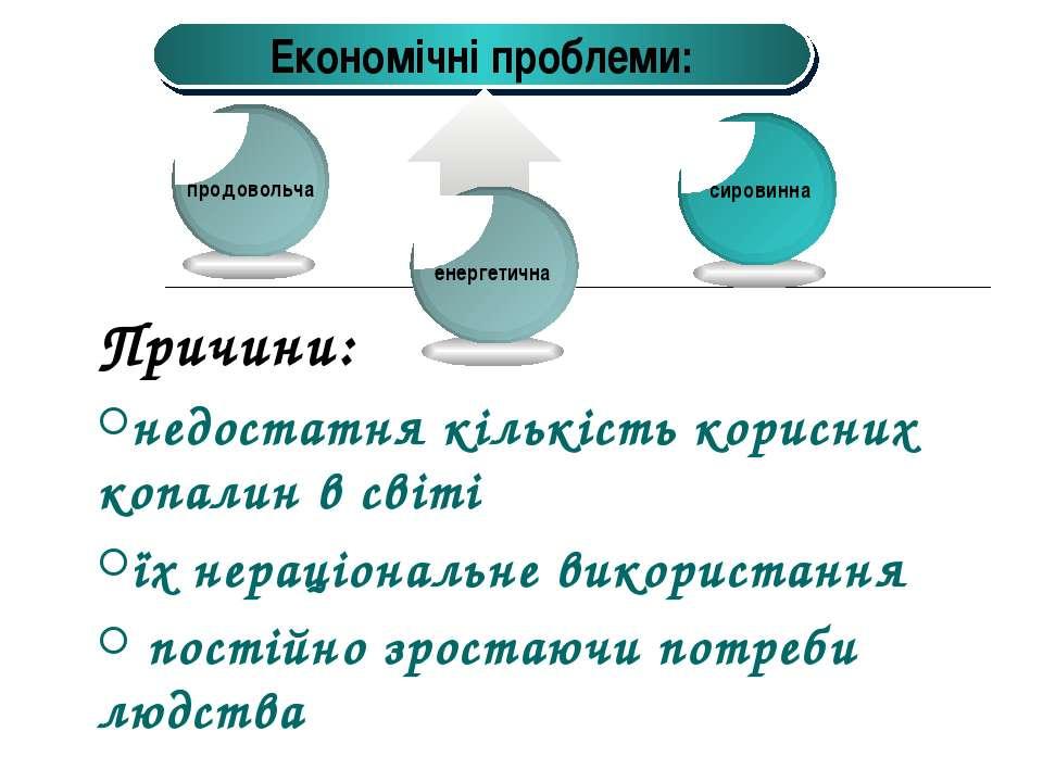 Причини: недостатня кількість корисних копалин в світі їх нераціональне викор...