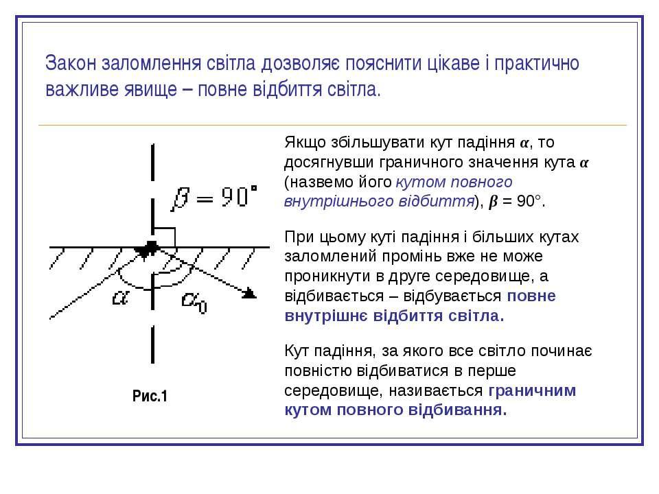 Якщо збільшувати кут падіння α, то досягнувши граничного значення кута α (наз...