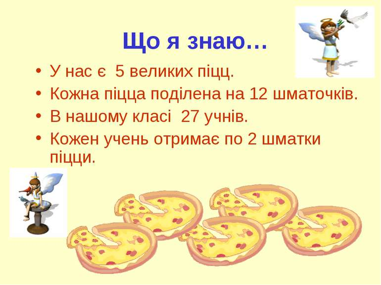Що я знаю… У нас є 5 великих піцц. Кожна піцца поділена на 12 шматочків. В на...