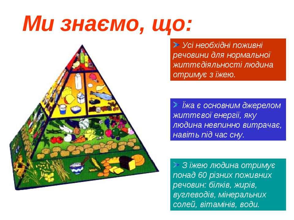 Їжа є основним джерелом життєвої енергії, яку людина невпинно витрачає, навіт...