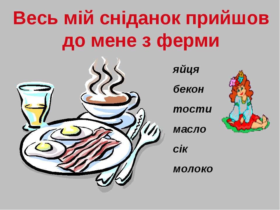 Весь мій сніданок прийшов до мене з ферми яйця бекон тости масло сік молоко