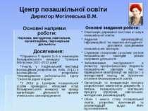Центр позашкільної освіти Директор Могілевська В.М. Досягнення: Отримано 5 пр...