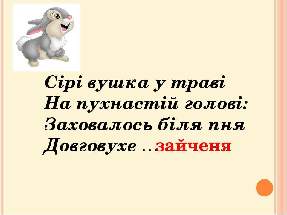 Сірі вушка у траві На пухнастій голові: Заховалось біля пня Довговухе … зайченя