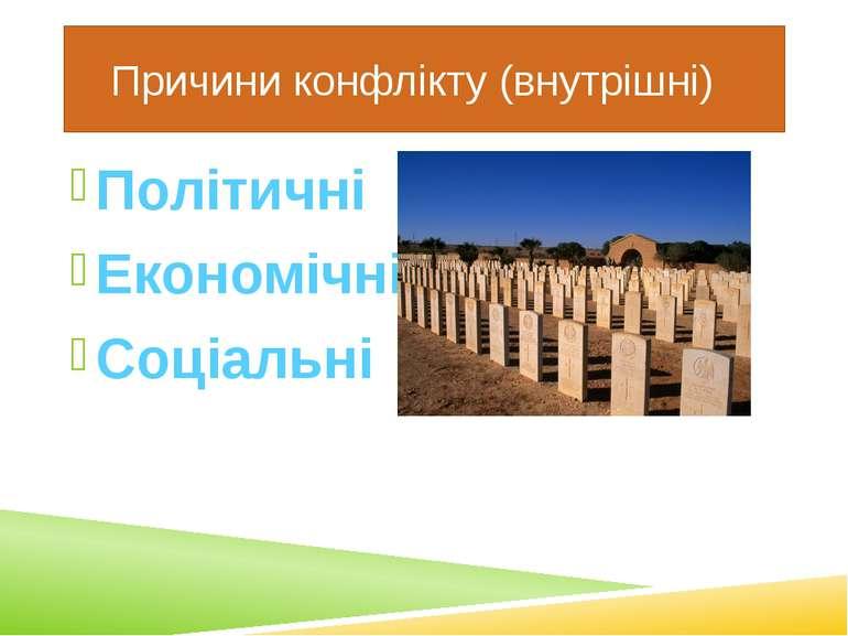 Причини конфлікту (внутрішні) Політичні Економічні Соціальні