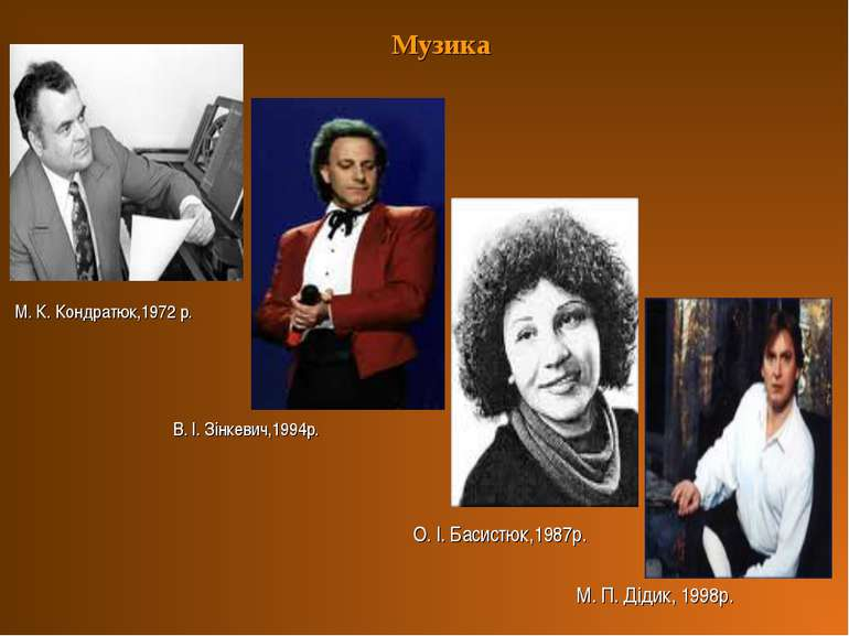 Музика М. К. Кондратюк,1972 р. В. І. Зінкевич,1994р. О. І. Басистюк,1987р. М....