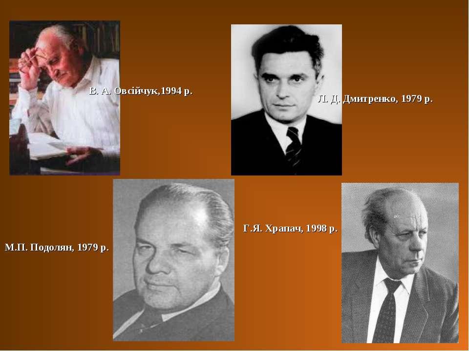 В. А. Овсійчук,1994 р. М.П. Подолян, 1979 р. Л. Д. Дмитренко, 1979 р. Г.Я. Хр...