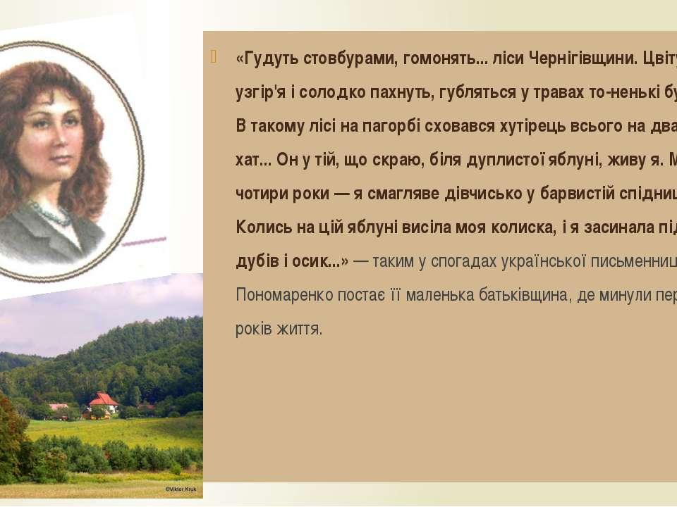 «Гудуть стовбурами, гомонять... ліси Чернігівщини. Цвітуть узгір'я і солодко ...