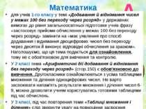 Математика для учнів 1-го класу у темі «Додавання й віднімання чисел у межах ...