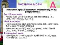 Іноземні мови Навчання другої іноземної мови в 6-му класі (підручники): Англі...