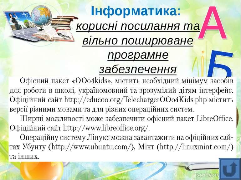 Інформатика: корисні посилання та вільно поширюване програмне забезпечення