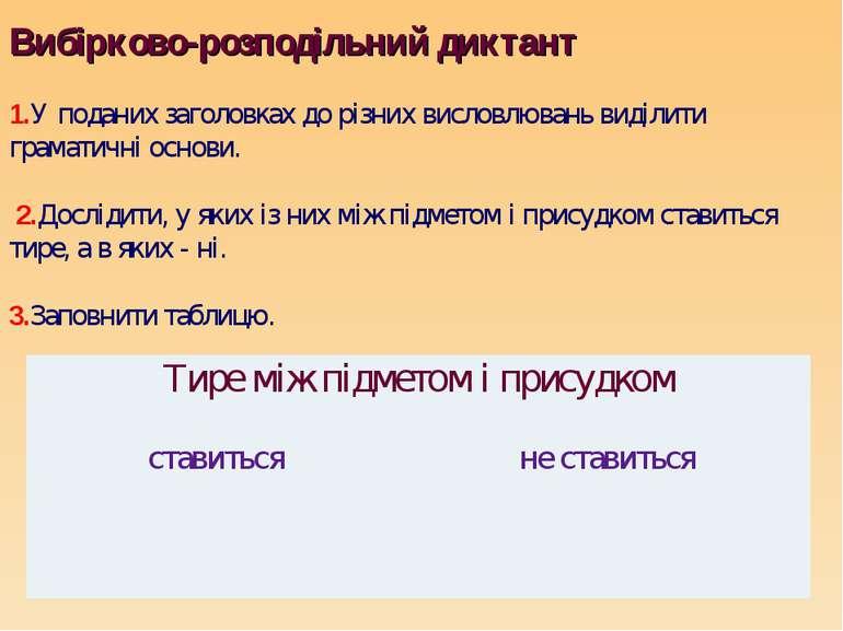 Вибірково-розподільний диктант 1.У поданих заголовках до різних висловлювань ...