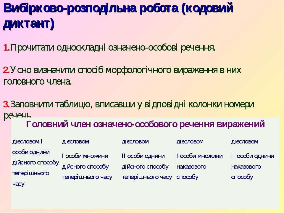 Вибірково-розподільна робота (кодовий диктант) 1.Прочитати односкладні означе...