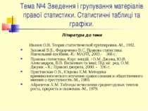 Тема №4 Зведення і групування матеріалів правої статистики. Статистичні табли...