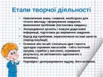 Етапи творчої діяльності Накопичення знань і навиків, необхідних для чіткого ...