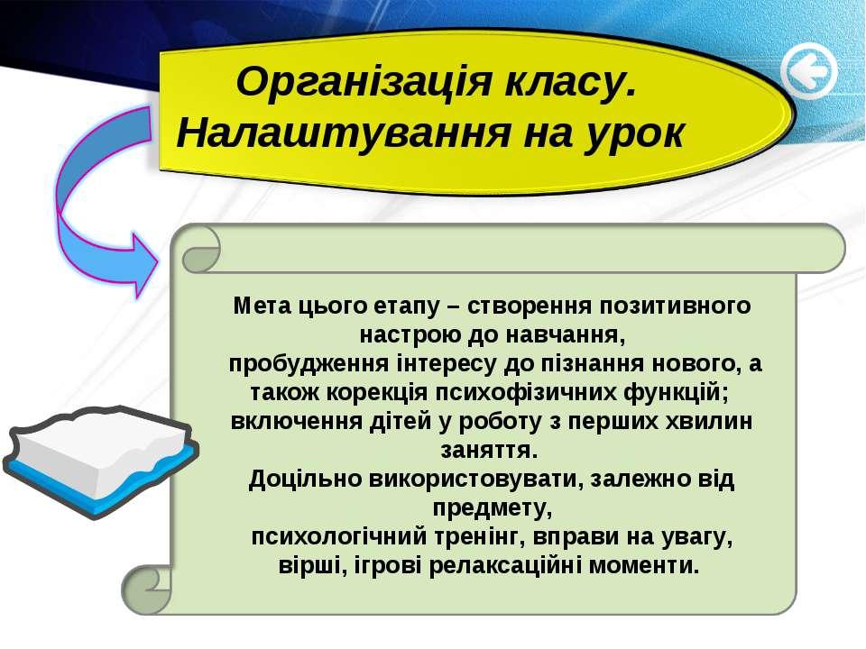 Організація класу. Налаштування на урок Мета цього етапу – створення позитивн...