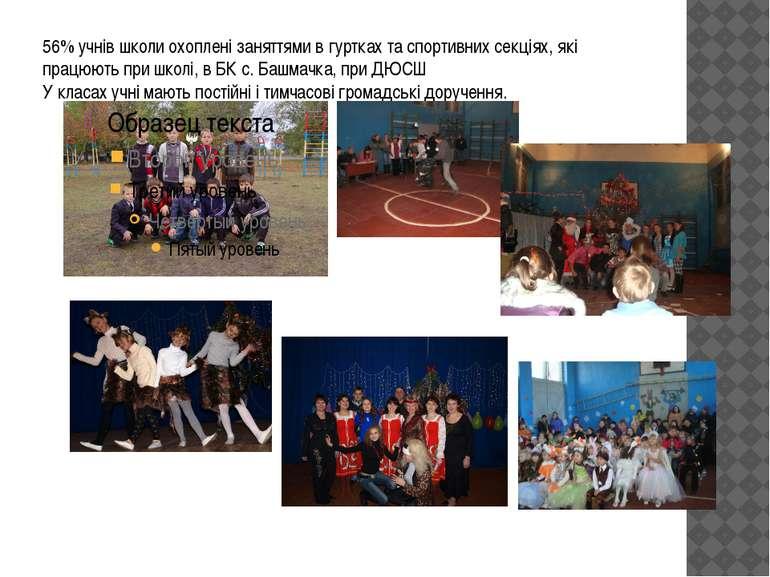 56% учнів школи охоплені заняттями в гуртках та спортивних секціях, які працю...