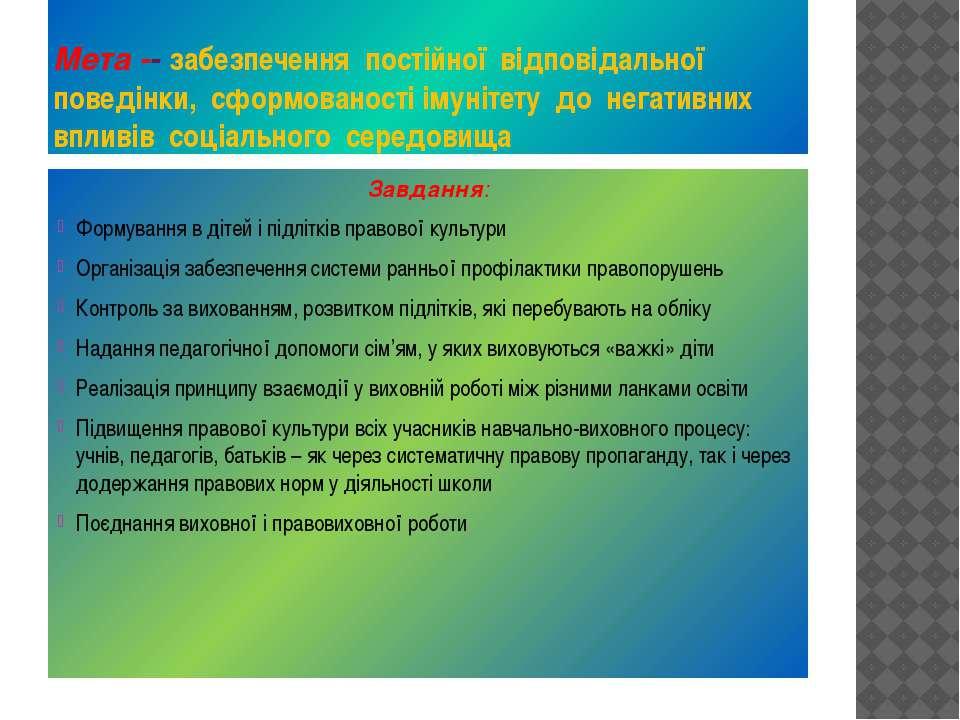 Мета -- забезпечення постійної відповідальної поведінки, сформованості імуніт...