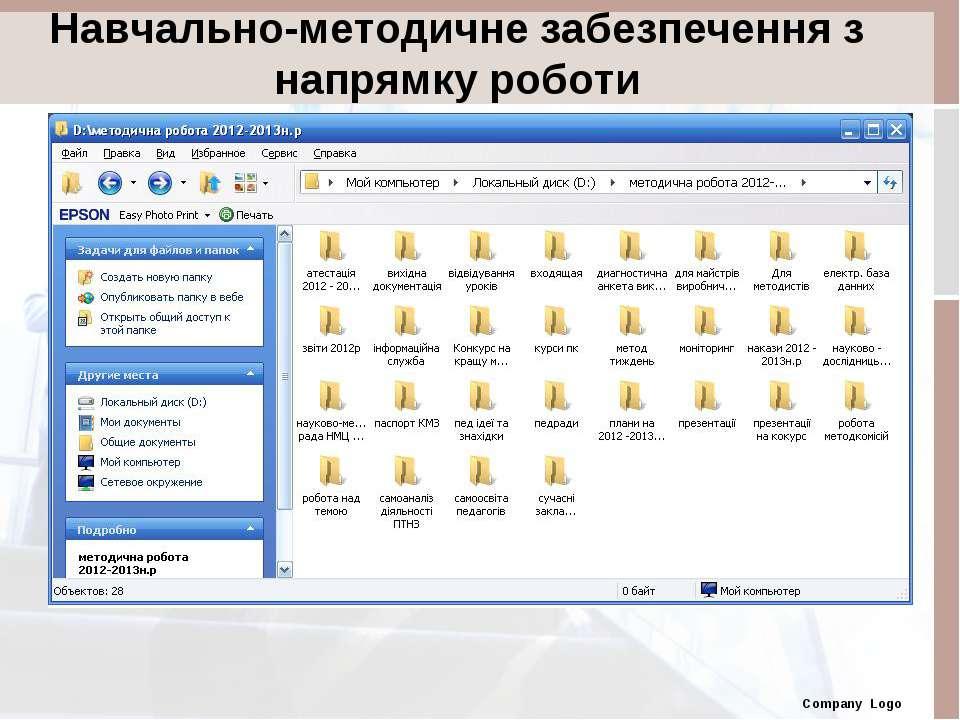 Навчально-методичне забезпечення з напрямку роботи Company Logo