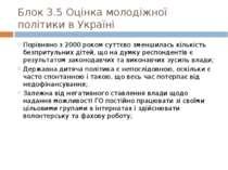 Блок 3.5 Оцінка молодіжної політики в Україні Порівняно з 2000 роком суттєво ...
