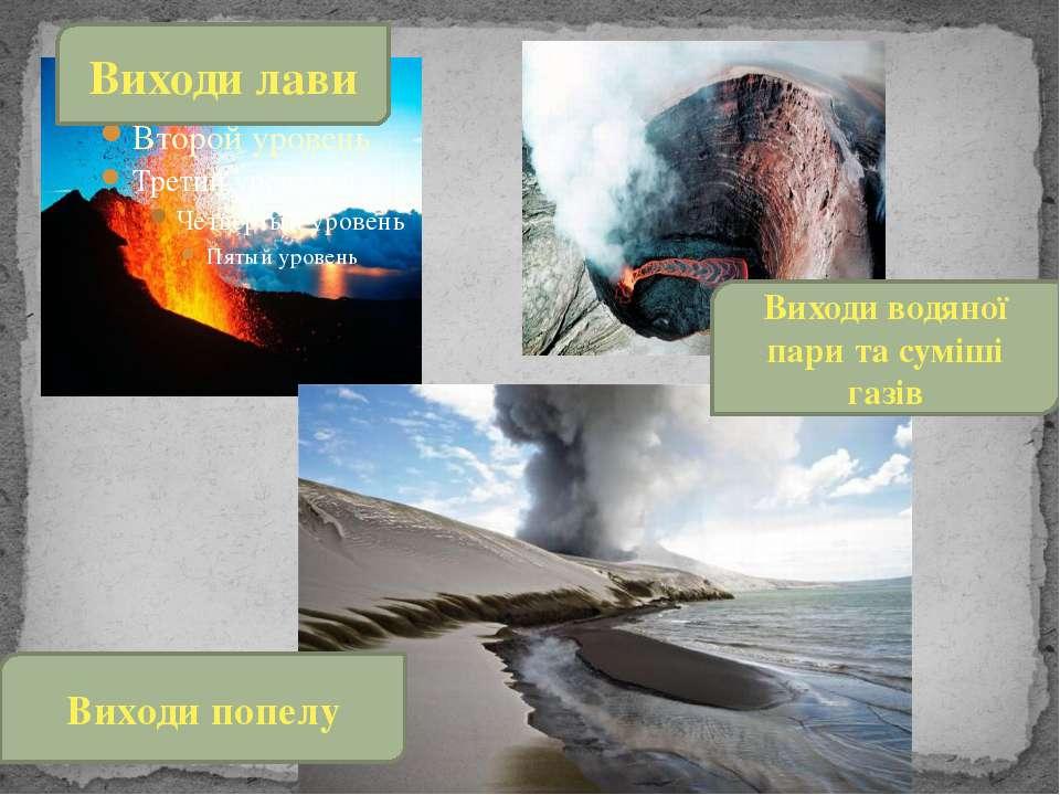 Виходи лави Виходи водяної пари та суміші газів Виходи попелу