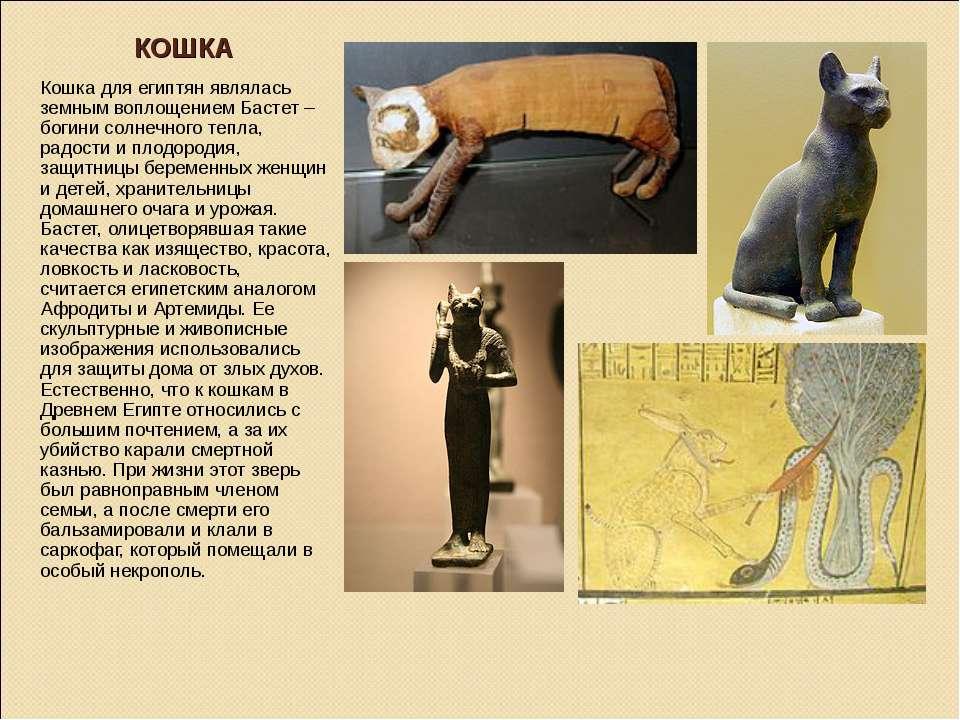 КОШКА Кошка для египтян являлась земным воплощением Бастет – богини солнечног...