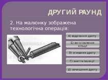 ДРУГИЙ РАУНД 2. На малюнку зображена технологічна операція: А) відрізання дро...