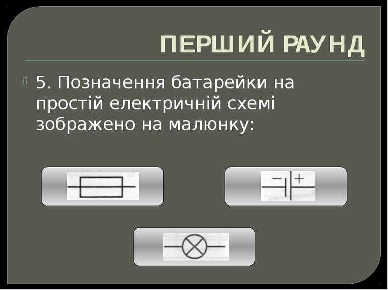 ПЕРШИЙ РАУНД 5. Позначення батарейки на простій електричній схемі зображено н...
