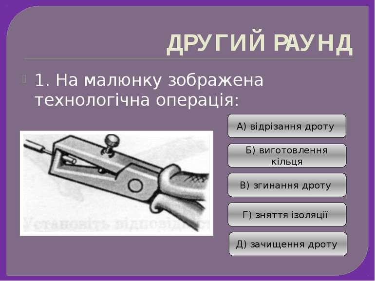 ДРУГИЙ РАУНД 1. На малюнку зображена технологічна операція: А) відрізання дро...