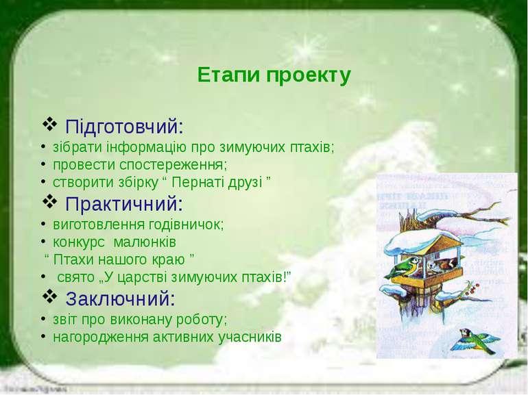 Етапи проекту Підготовчий: зібрати інформацію про зимуючих птахів; провести с...