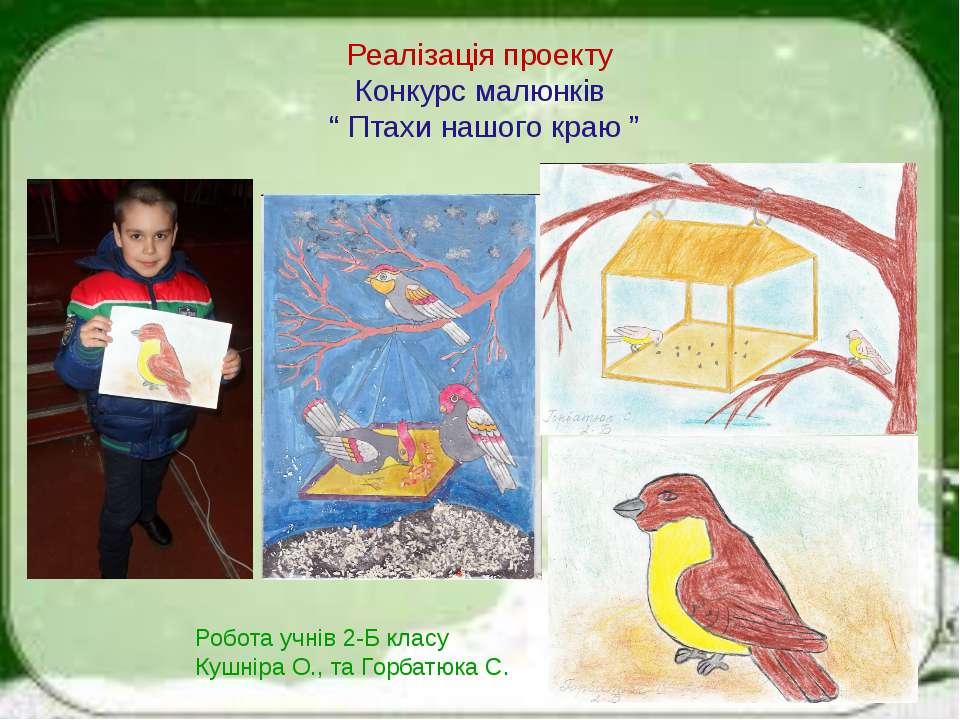 """Реалізація проекту Конкурс малюнків """" Птахи нашого краю """" Робота учнів 2-Б кл..."""
