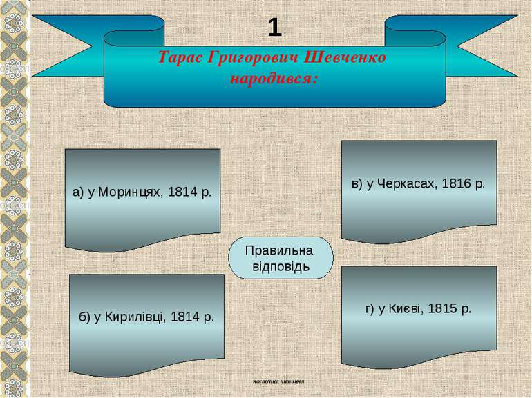 Тарас Григорович Шевченко народився: а) у Моринцях, 1814 р. б) у Кирилівці, 1...