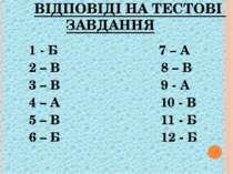 ВІДПОВІДІ НА ТЕСТОВІ ЗАВДАННЯ 1 - Б 7 – А 2 – В 8 – В 3 – В 9 - А 4 – А 10 - ...
