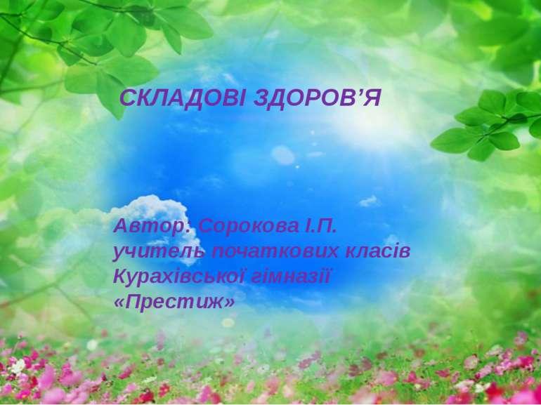 СКЛАДОВІ ЗДОРОВ'Я Автор: Сорокова І.П. учитель початкових класів Курахівської...