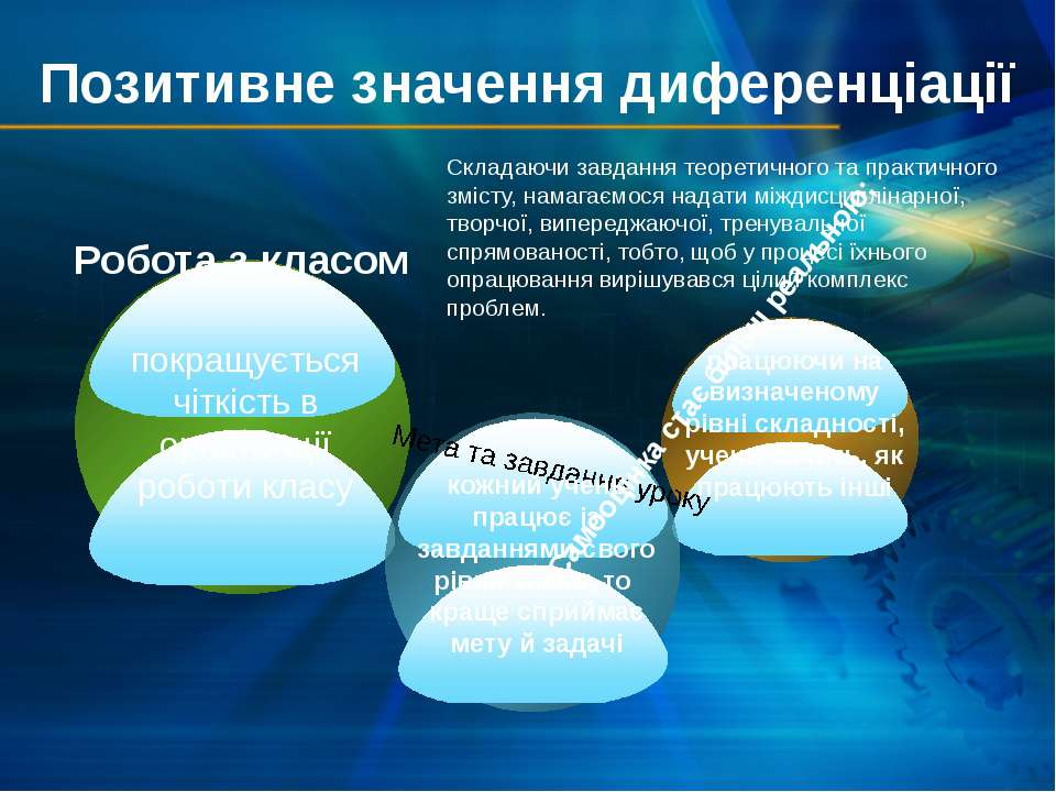 Позитивне значення диференціації покращується чіткість в організації роботи к...